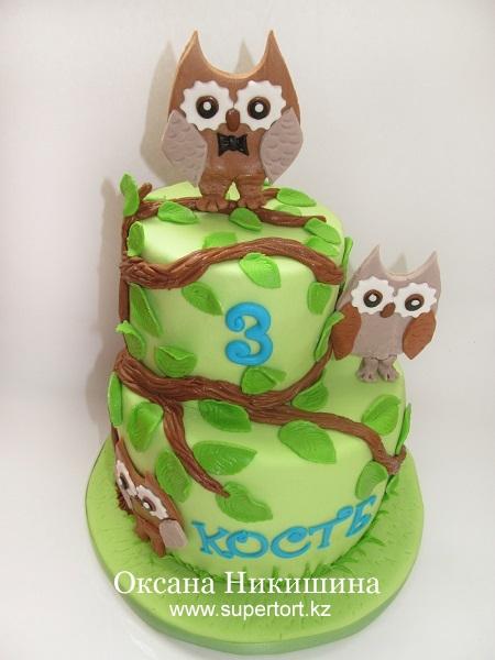 Торт Совята на дереве