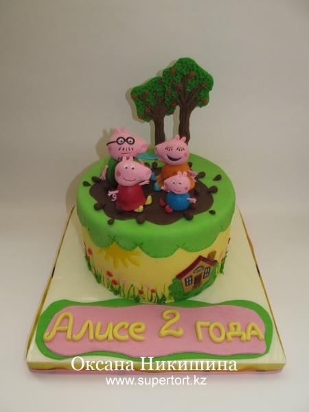 Торт Свинка Пеппа и ее семья