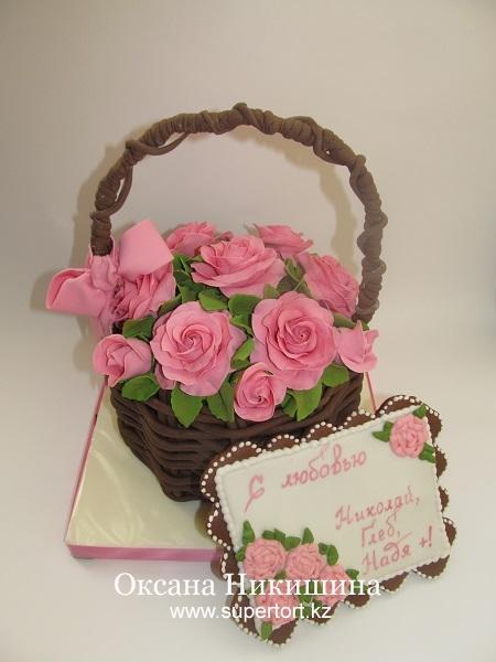 Торт Корзина с розами