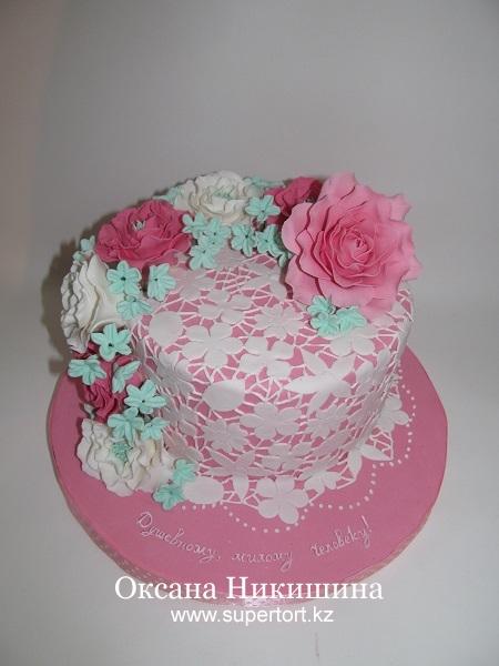 Торт Цветочное кружево
