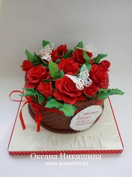 "Торт ""Корзина алых роз"""