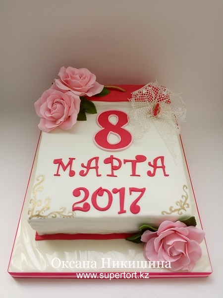 """Торт """"Календарь с розами"""""""