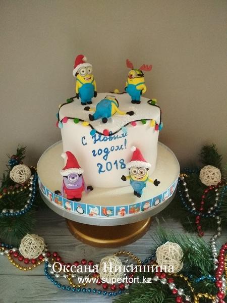 """Торт """"Миньоны и Новый год"""""""
