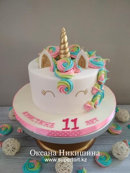 """Торт """"Милая пони-единорог поздравляет Кристину"""""""
