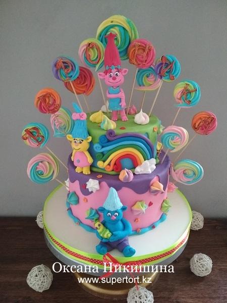 "Торт ""Тролли поздравляют Веронику"""