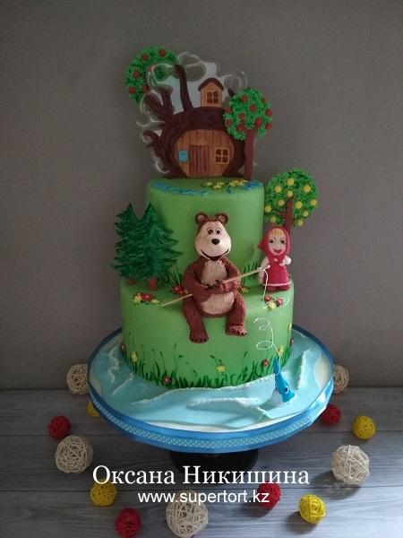 "Торт ""Маша и Медведь поздравляют Виктора"""