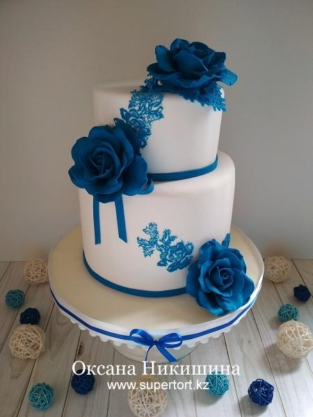 """Свадебный торт """"Синие розы"""""""