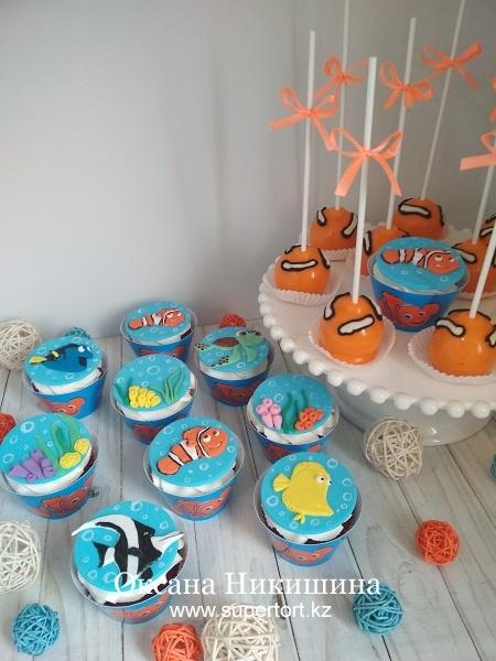 Капкейки и кейк попсы «Рыбка Немо»